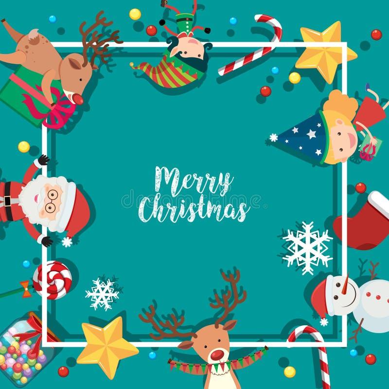 Fassen Sie Schablone mit Weihnachtscharakteren auf blauem Hintergrund ein vektor abbildung