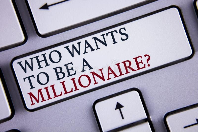 Fassen Sie Schreibenstext ab, der eine Millionärs-Frage sein möchte Geschäftskonzept für Earn mehr Geld, welches das Wissen gesch lizenzfreies stockbild