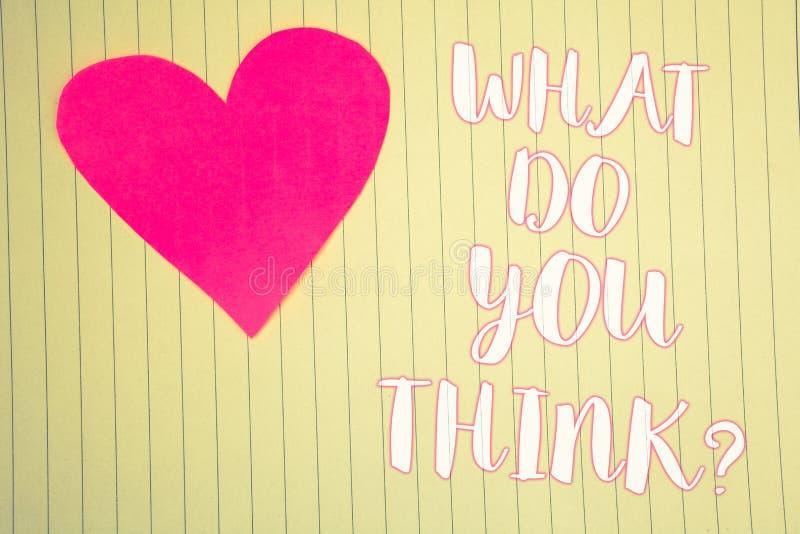 Fassen Sie Schreibenstext ab, was Sie Frage denken Geschäftskonzept für hellrosa Herz der Meinungs-Gefühl-Kommentar-Urteil-Überze lizenzfreie stockfotografie
