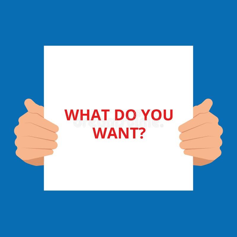 Fassen Sie Schreibenstext ab, was Sie Frage wünschen stock abbildung