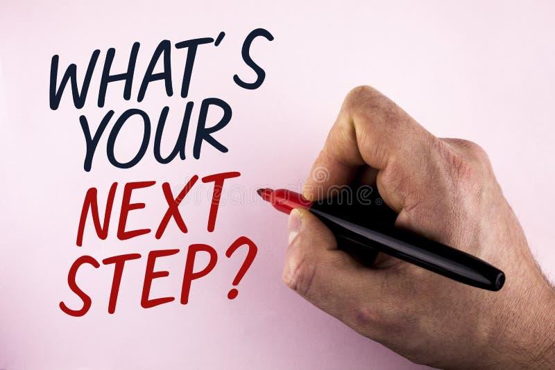 Fassen Sie Schreibenstext ab, was Ihre Frage des nächsten Schritts ist Geschäftskonzept für Analyse fragen sich, bevor es die Ent stockbild