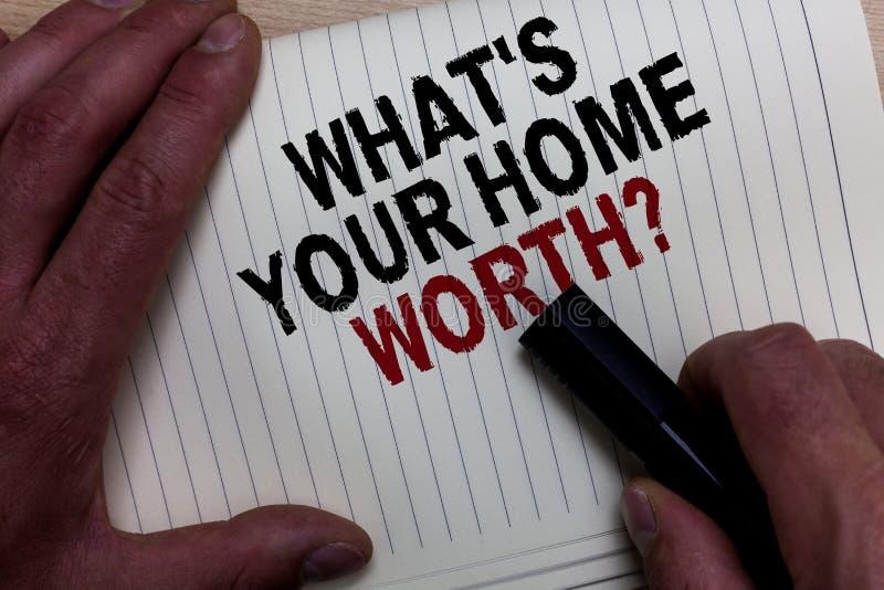 Fassen Sie Schreibenstext ab, welches s wert Frage Ihr Haupt ist Geschäftskonzept für Wert von eines Grundbesitz-Selbstkostenprei lizenzfreie stockbilder