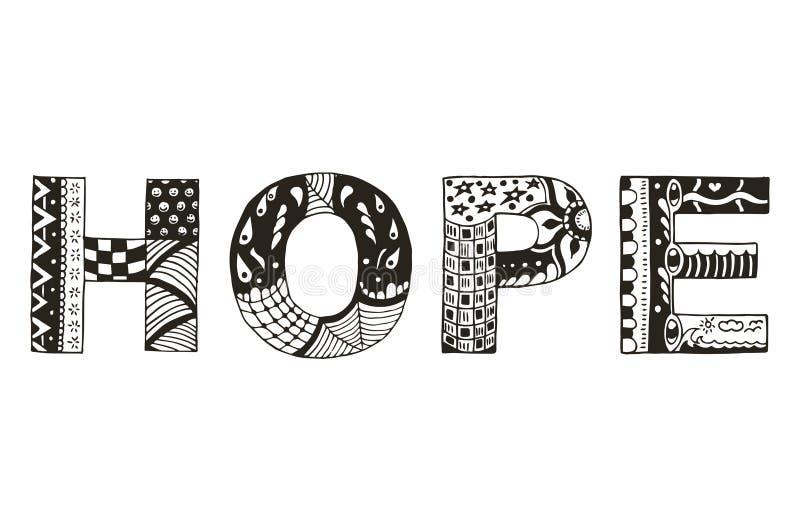 Fassen Sie stilisiertes Hoffnung zentangle, Vektor, Illustration, freihändiger Stift ab lizenzfreie abbildung