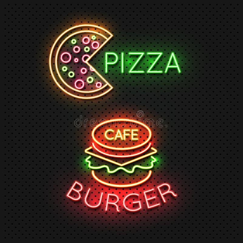 Fastów food cukierniani neonowi znaki - pizzy i hamburgeru neonowi sztandary royalty ilustracja