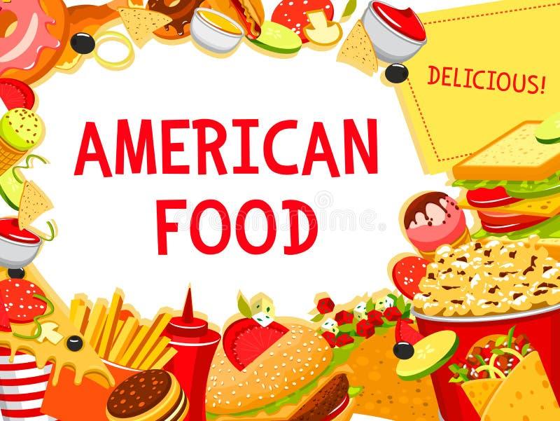Fastów food hamburgerów przekąsek i posiłków wektoru plakat royalty ilustracja