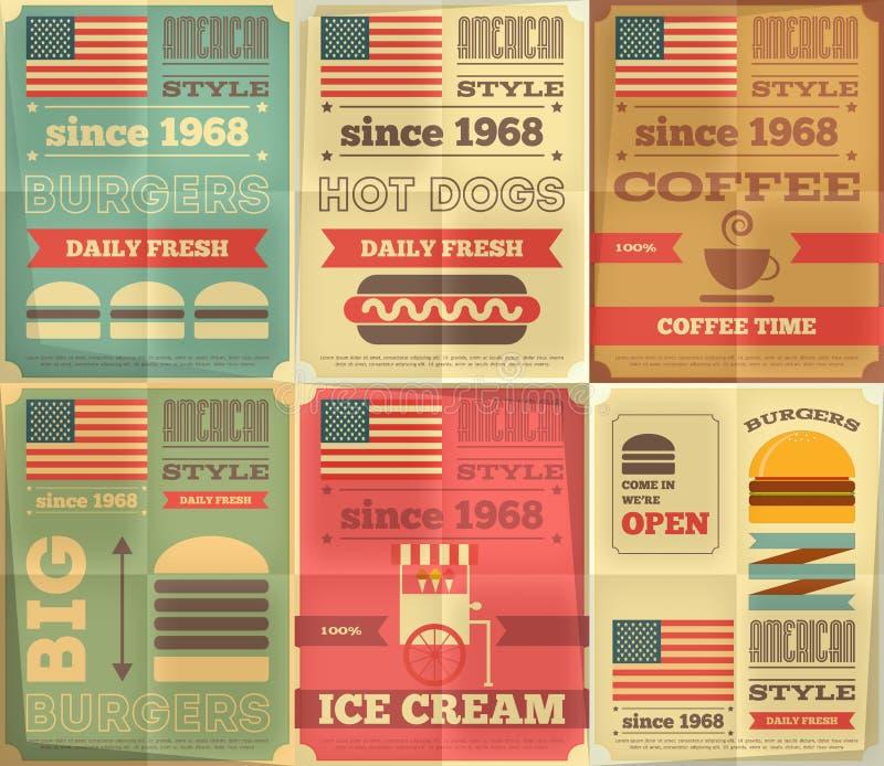 Fastów food plakaty inkasowi ilustracja wektor