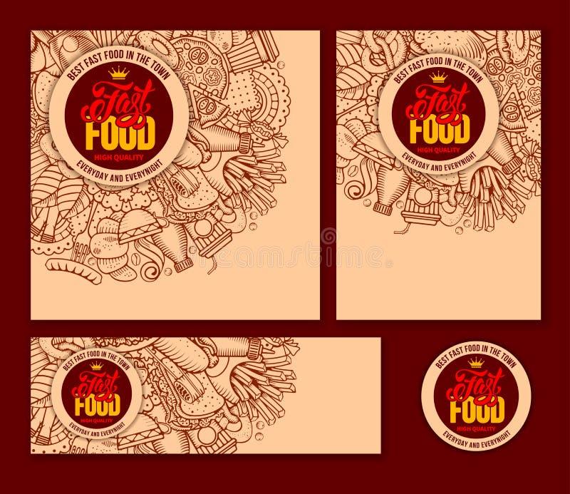 Fastów Food szablony Ustawiający royalty ilustracja
