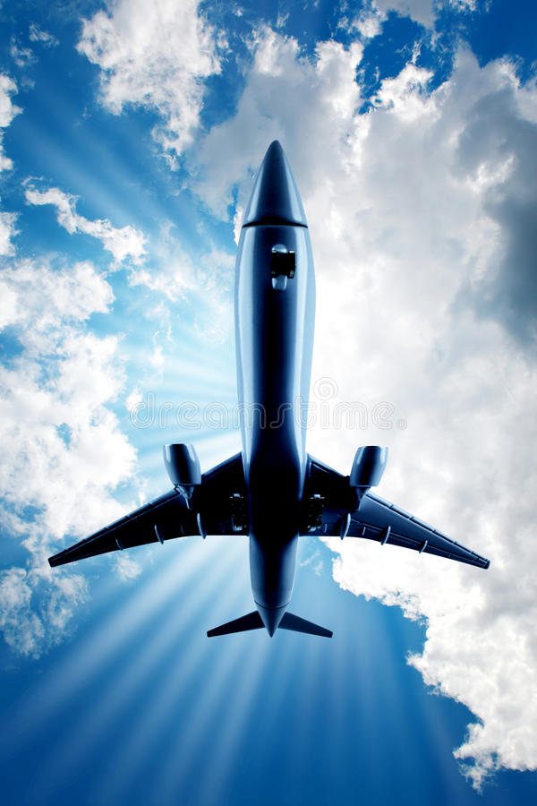 Fast Airplane Over Head Stock Photography