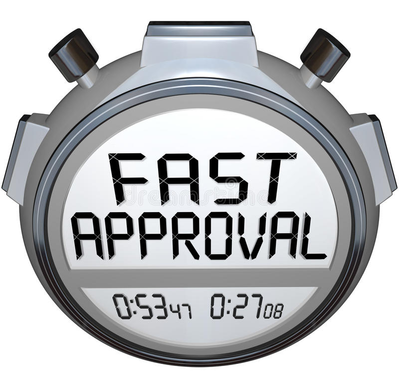 Free Fast Approval Words Stopwatch Timer Approved Loan Mortgage Credit Royalty Free Stock Photo - 32577605