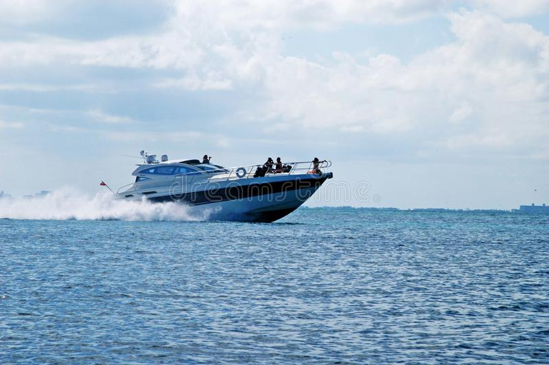 Fast big boat stock image