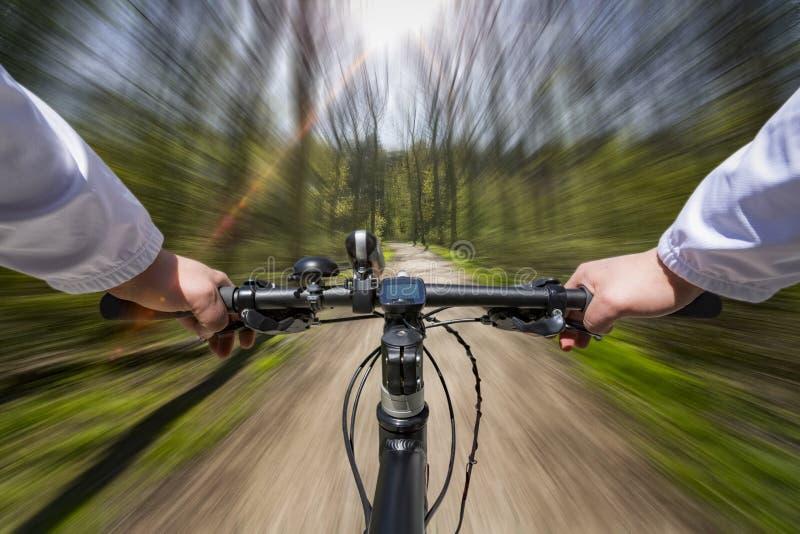 Fast Bike Ride through the woods stock photo