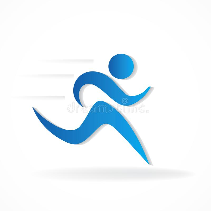 Fast blue fitness runner man figure icon vector symbol id card business logo. Healthy and happy blue fitness runner icon vector symbol id card business logo art royalty free illustration