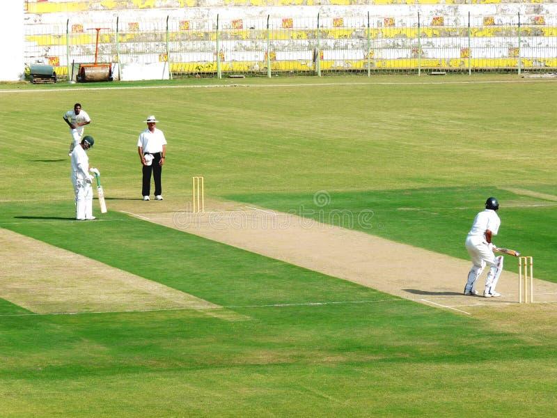 Fast Bowling Attack. SIALKOT, PAKISTAN - OCTOBER 22: Quaid-e-Azam Trophy First Class Cricket Match Played Between Sialkot & Multan Teams at Jinnah Cricket stock images