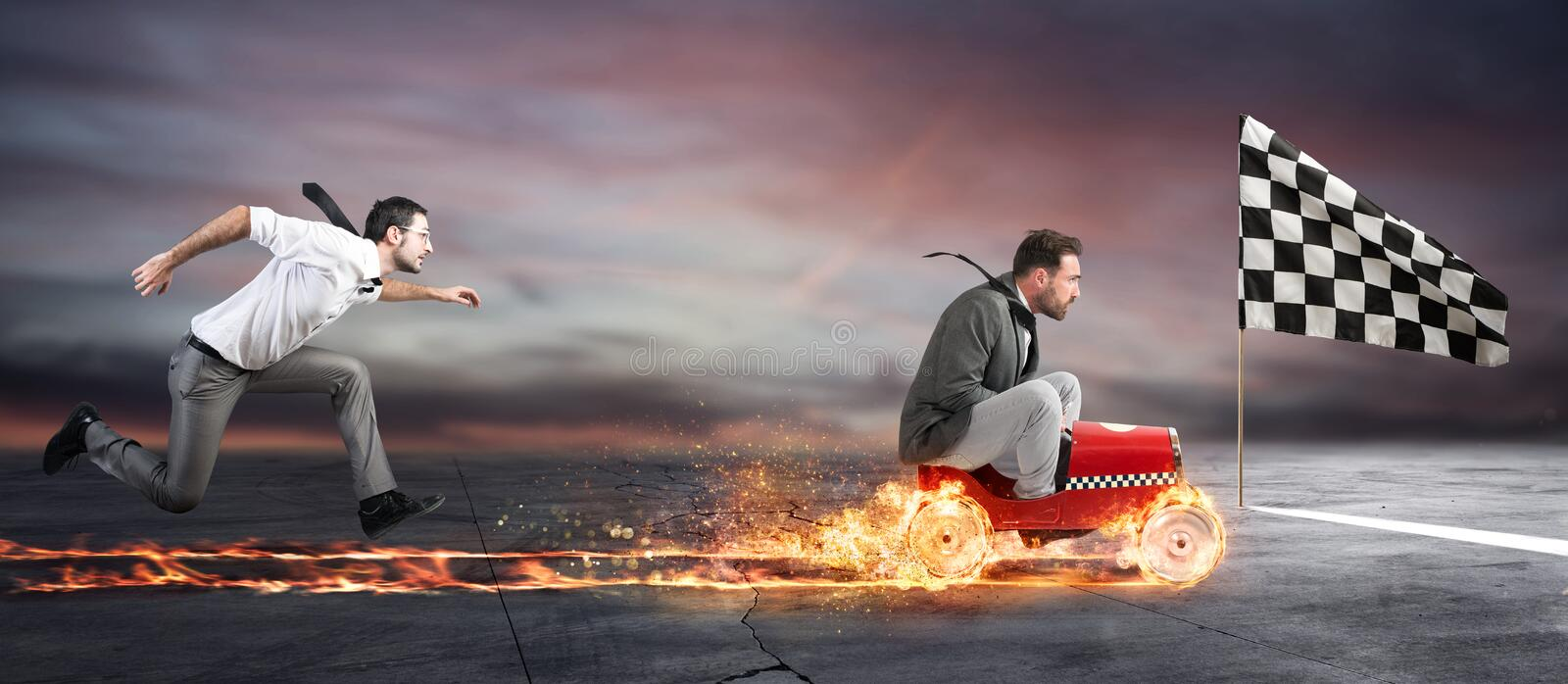 Fast businessman with a car wins against the competitors. Concept of success and competition royalty free stock photos