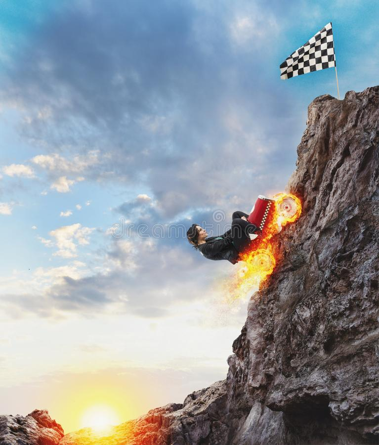Fast businesswoman with a car climbs a mountain to reach the flag. Concept of success and competition. Fast businesswoman with a car climbs a mountain to reach royalty free illustration