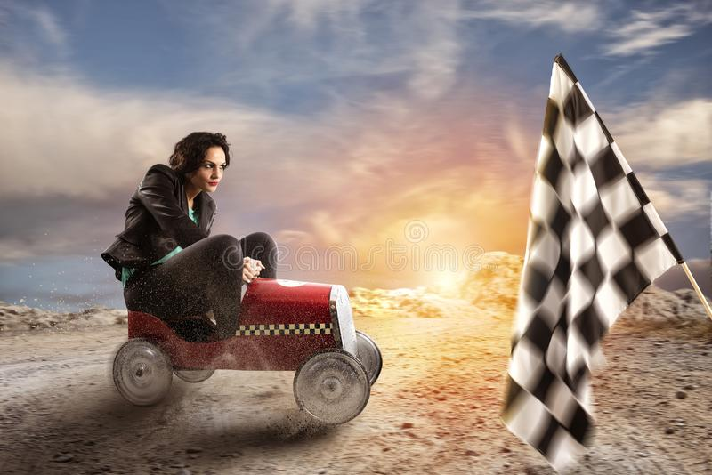 Fast businesswoman with a car wins against the competitors. Concept of success and competition. Fast businesswoman with a car wins against the competitors royalty free illustration