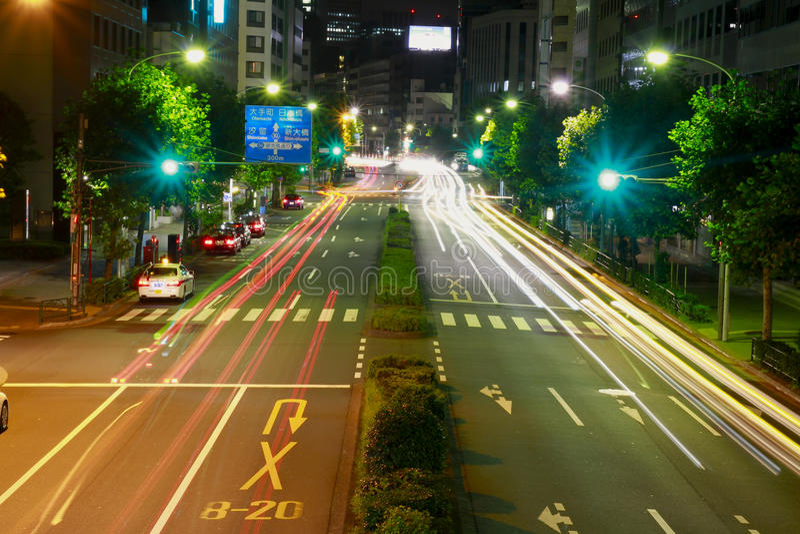Fast car in Tokyo city , Japan stock image