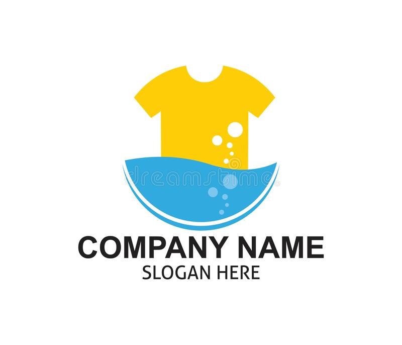 Fast and clean laundry service logo design. Template vector illustration