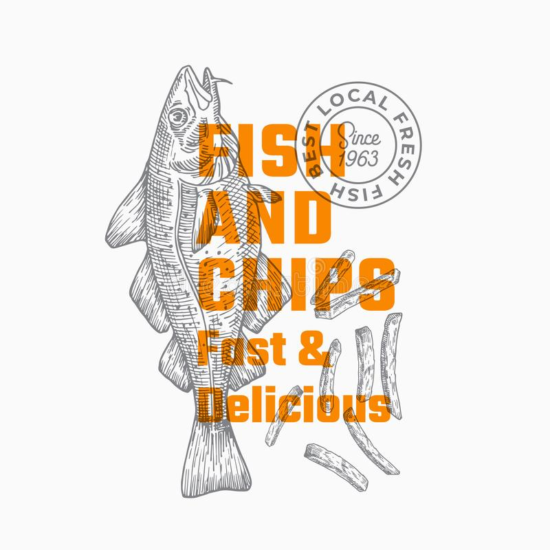 Fast and Delicious Fish and Chips. Abstract Vector Sign, Symbol or Logo Template. Hand Drawn Cod Fish and Potato Fries. With Modern Typography. Premium Quality vector illustration