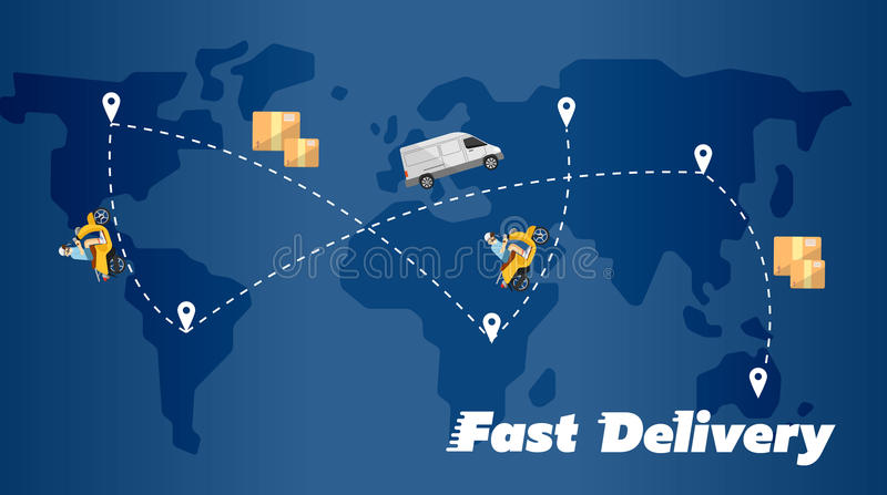 Fast delivery banner world map with routes stock vector delivery truck and scooter biker on background of blue world map with routes fast delivery banner vector illustration courier service gumiabroncs Images