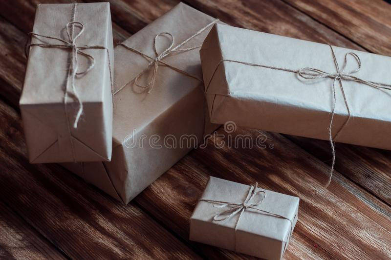 Fast delivery of beautiful gifts right under the tree for friends and relatives on New Year`s Eve stock image