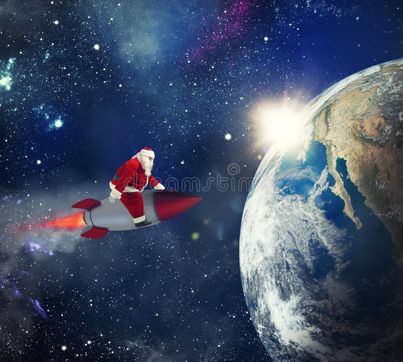 Fast delivery of Christmas gifts with Santa Claus in the space. Over a rocket vector illustration