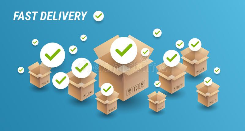 Fast delivery concept banner - delivery cardboard boxes icons an. D check marks - blue background with delivery cardboard boxes - vector illustration vector illustration
