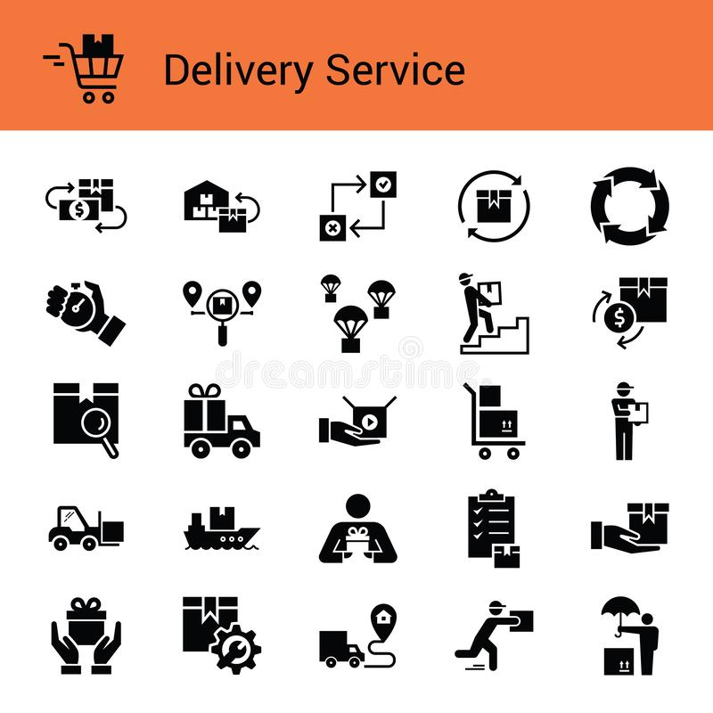 Fast delivery logistic icons big set in flat style. royalty free illustration