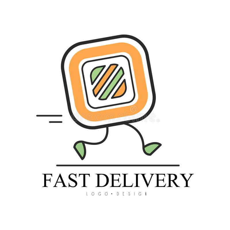 Fast delivery logo design, food service delivery, creative template with running sushi roll for corporate identity stock illustration
