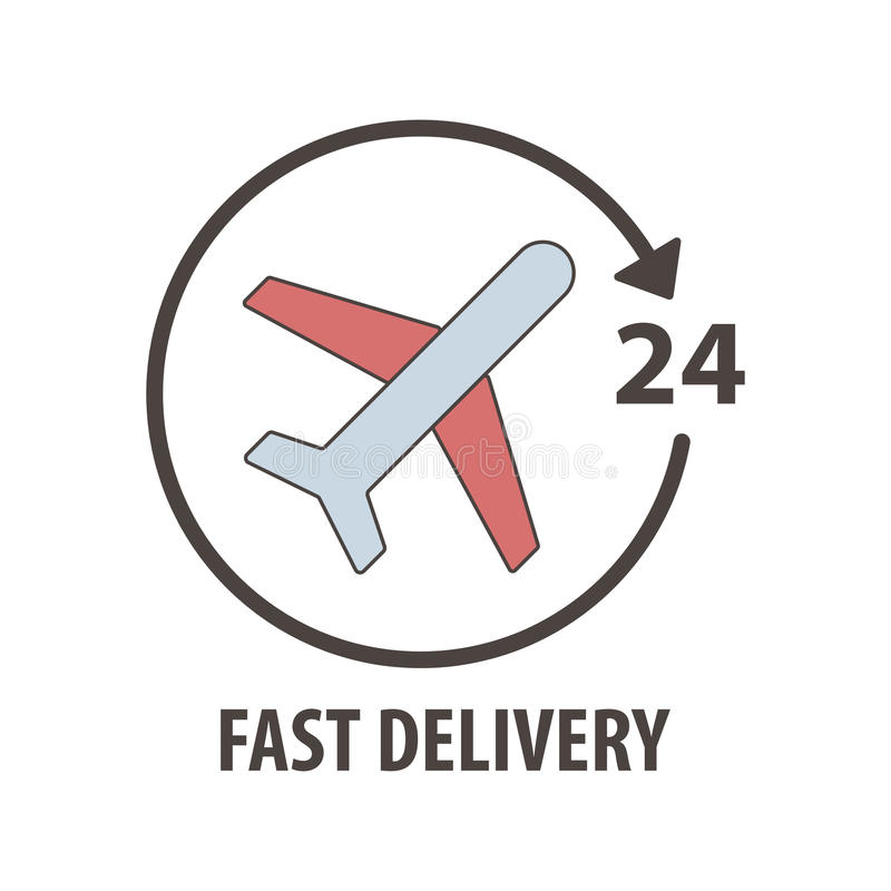 Fast Delivery Logo With Plane In Circle. Fast Delivery ...