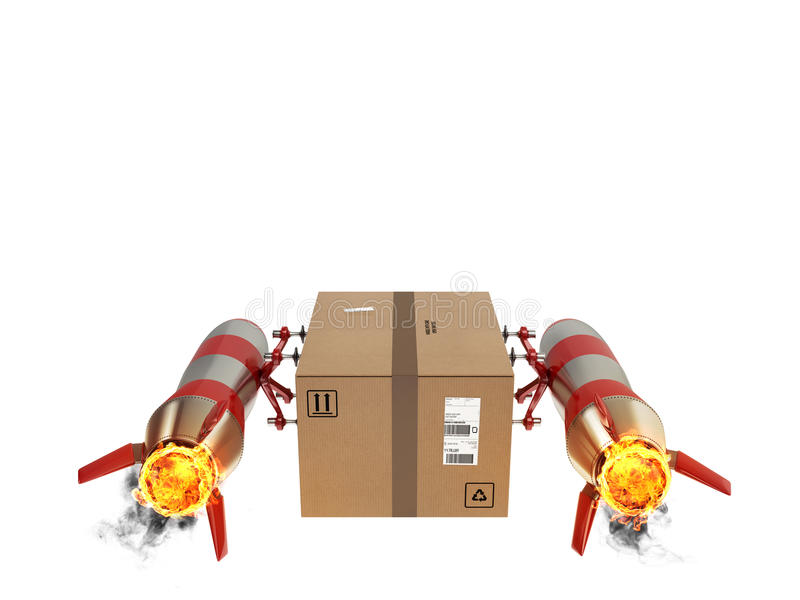 Fast delivery of package by turbo rocket. 3D Rendering royalty free illustration