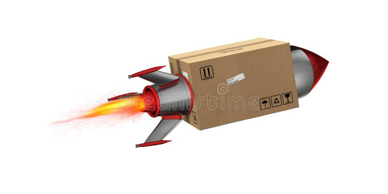 Fast delivery of package by turbo rocket. 3D Rendering. Fire, freight. Package flies on the city for a quick delivery. 3D Rendering royalty free illustration