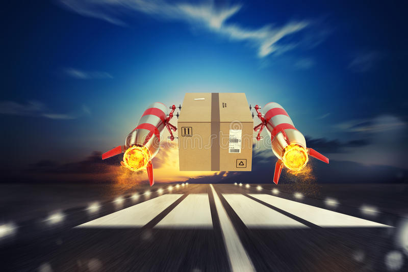 Fast delivery of package by turbo rocket. 3D Rendering vector illustration