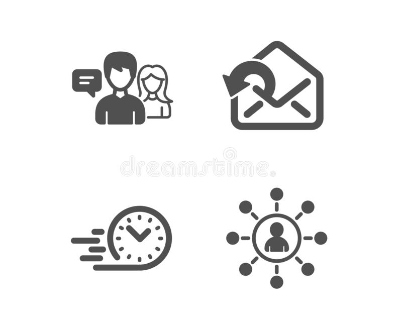 Fast delivery, Send mail and People talking icons. Networking sign. Stopwatch, Sent message, Contact service. Vector. Set of Fast delivery, Send mail and People vector illustration