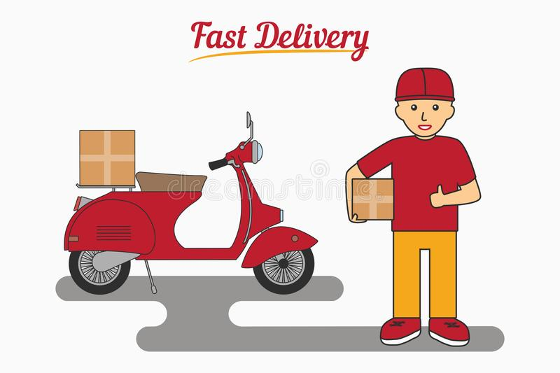 Fast Delivery Services - poster, logo, banner. Courier man. Holding a box. Scooter or moped for transportation of parcels. Vector illustration royalty free illustration