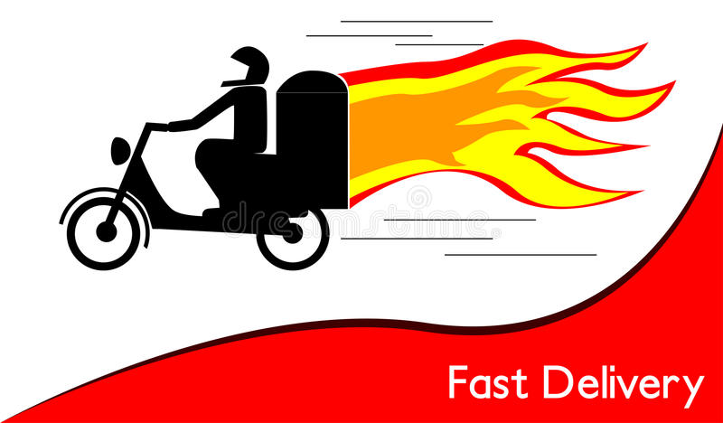 Download Fast delivery stock vector. Image of fast, helmet, flame - 32881232