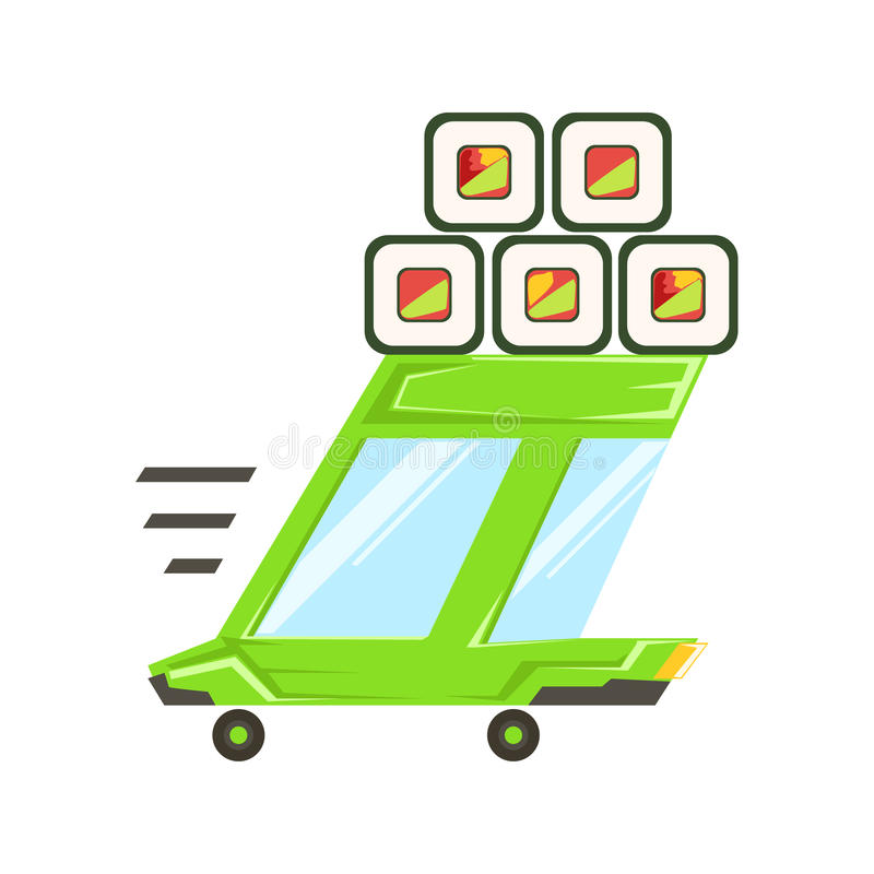 Fast Delivery Takeout Service Green Car With Japanese Sushi Rolls On The Roof Going To Deliver Food. Fast Delivery Service Green Car With Japanese Sushi Rolls On stock illustration