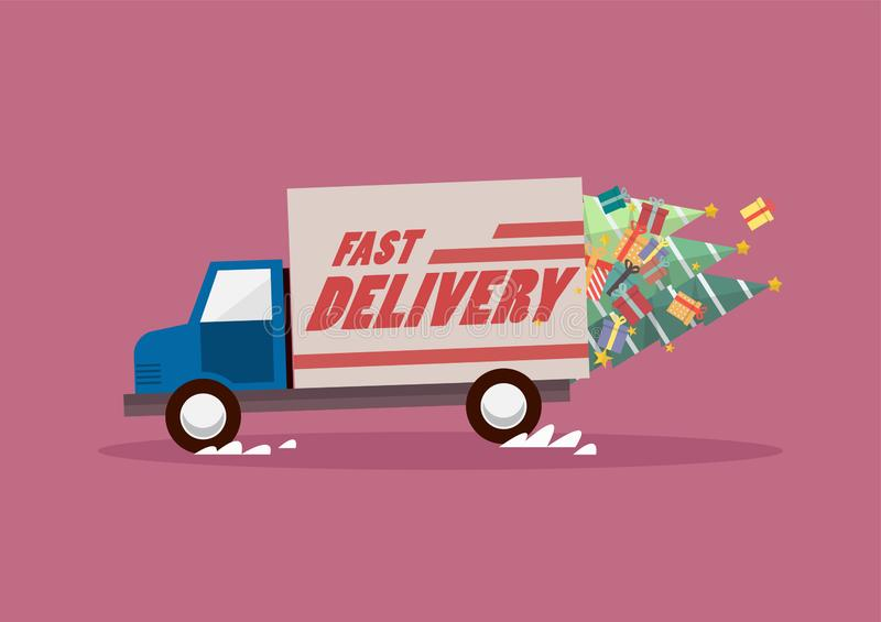 Fast delivery truck carrying christmas trees and gifts royalty free illustration