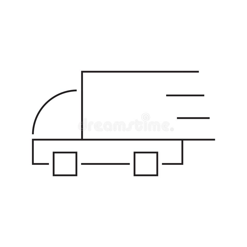 Fast delivery truck line icon. Truck Car icon template black color editable. Delivery Truck symbol vector sign isolated on white stock illustration