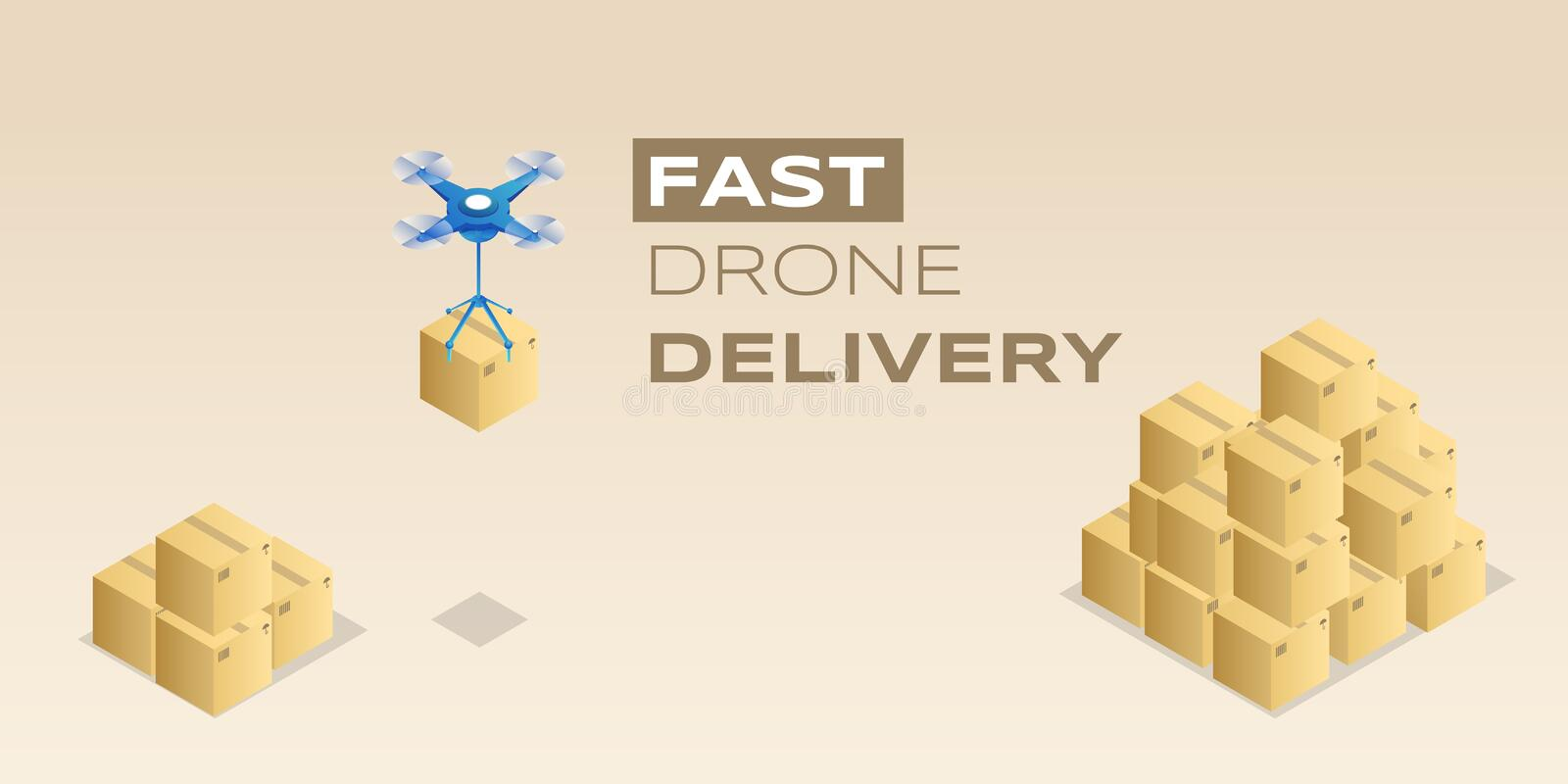 Fast drone delivery vector banner template. Contemporary package distribution service, parcel delivering business poster vector illustration