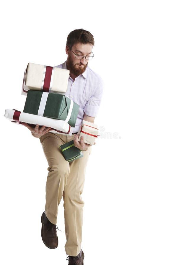 Fast fallendes Geschenk lizenzfreie stockfotos