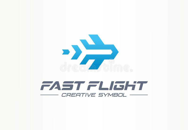 Fast flight creative symbol travel concept. High speed plane abstract business aviation logo. Jet arrow rocket route way royalty free illustration