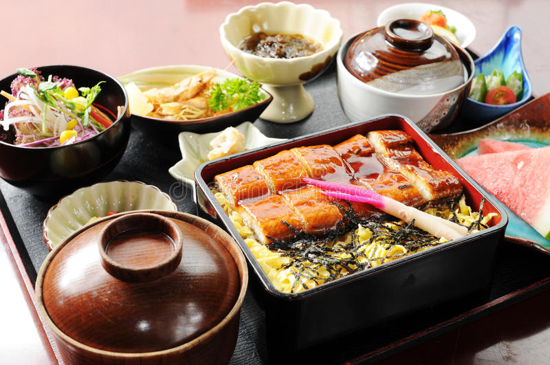 Fast-food. Japanese fast food on the table stock image