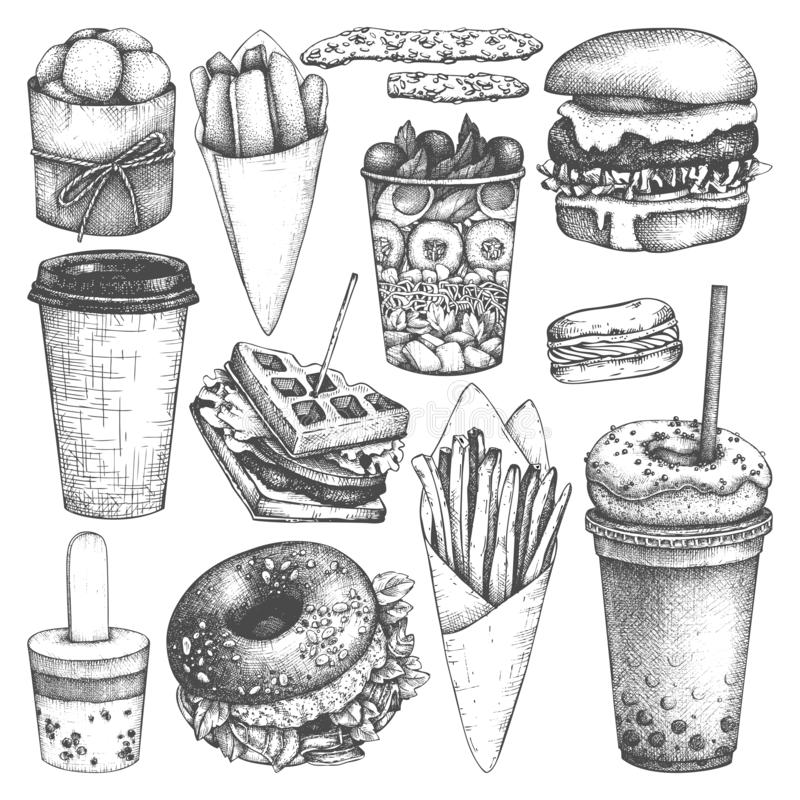Fast food illustrations collection. Street food festival menu design. Vector drinks and desserts drawing for logo, icon, label, p royalty free illustration