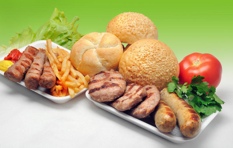 Fast food. Fresh fast food, meatball with french fries stock photo