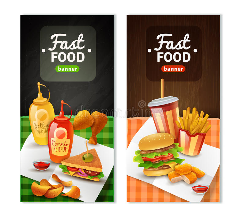 Free Fast Food 2 Vertical Banners Set Stock Photography - 82190212