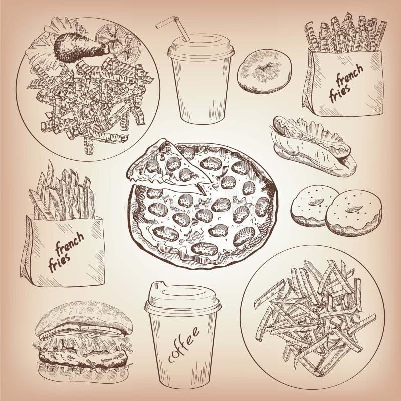 Fast food ilustração royalty free