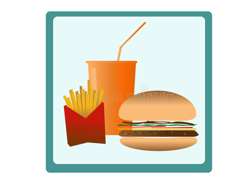 Download Fast food stock vector. Image of icon, fries, drink, logo - 6279164
