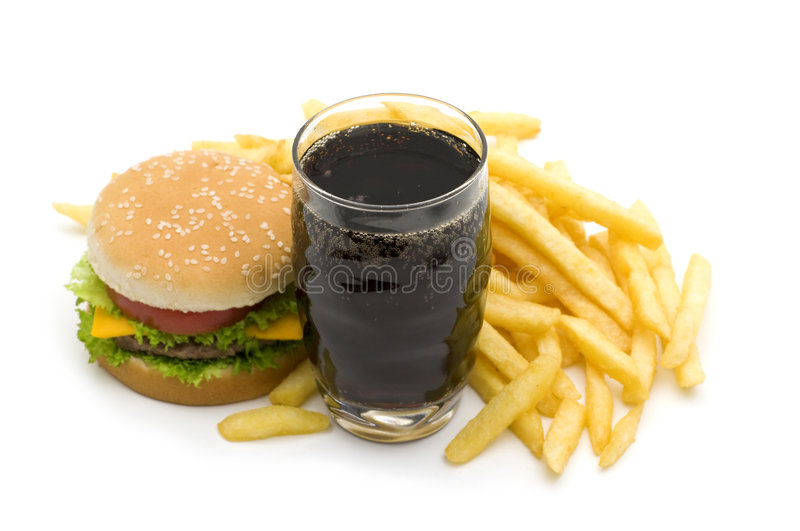 Fast food. On white background royalty free stock photography