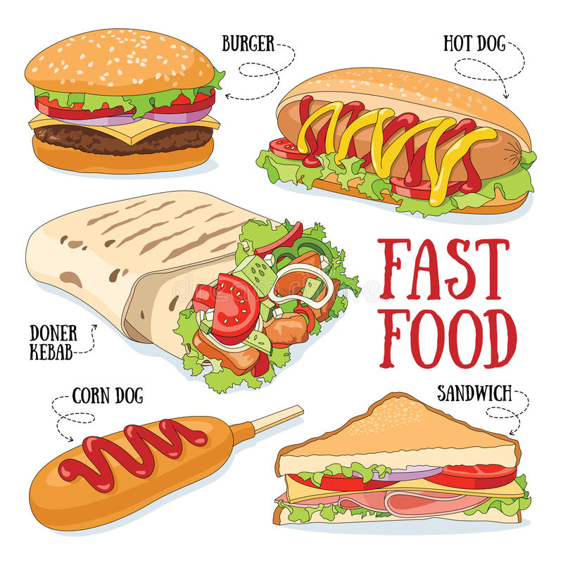 Fast food ilustração stock
